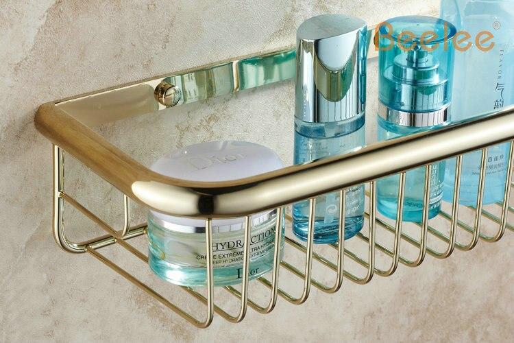 Beelee BA9410G Wall mounted Golden bathroom basket Bathroom ...