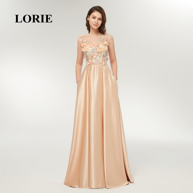LORIE Champagne Evening Dress Long Formal V Neck Appliqued with Flowers A Line  Prom Dress for fc314350c4f6