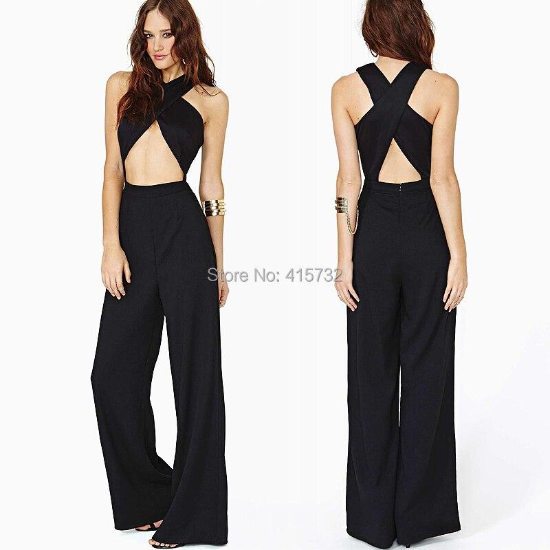 b1abea03ede 무료 배송 2016 새로운 패션 섹시한 튜브 상단 흑백 높은 허리 민소매 쉬폰 죄수 복 장난 꾸러기 여름 바지