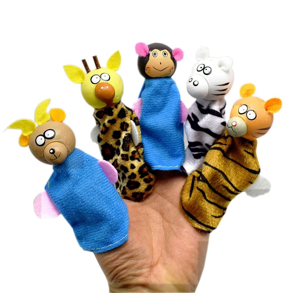 ④5pcs/lot Wood Cloth Tiger Monkey Giraffe Antelope Leopard Animal