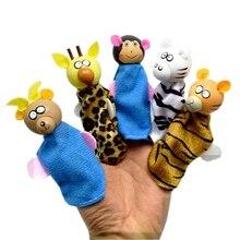 5pcs/lot Wood Cloth Tiger Monkey Giraffe Antelope Leopard Animal Wood Finger Puppet Set Children Story Telling Helper Dolls