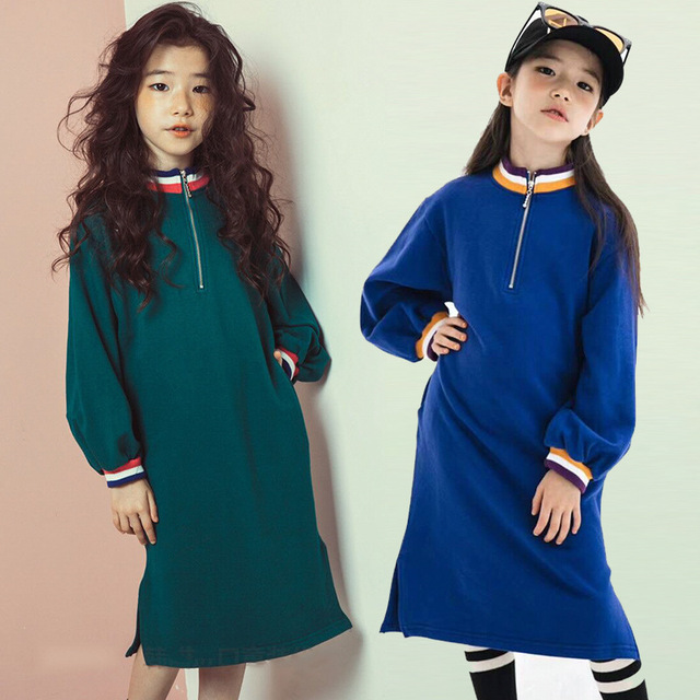 88e79c7ad1a0 2018 fashion children autumn dresses girls cotton solid long sweatshirt dress  kids clothes teenagers dress toddler girl clothing