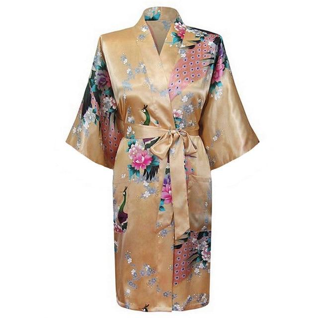 Сексуальная мода золото невесты свадебное халаты женские шелковый район ночная рубашка старинные кимоно ванна платье цветы размер L XL XXL XXXL WR009