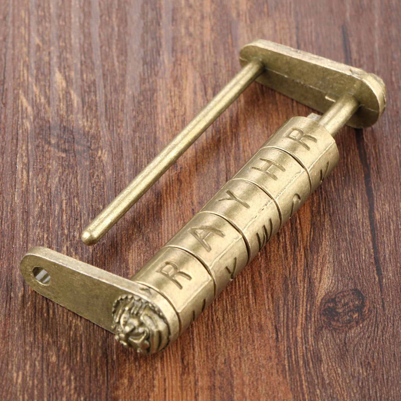 1Pc Antique chinois ancien mot de passe cadenas bijoux coffre en bois boîte serrure cadenas pour valise tiroir armoire porte matériel serrures