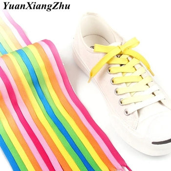 1Pair Colorful Silk shoelaces Candy Gradient Party Camping Boots Shoelace Canvas Strings Shoes Lace 100/120CM Length