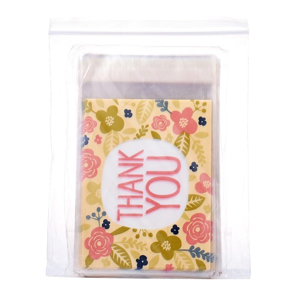 95~100pcs//bag Rectangle OPP Cellophane Bags Word Thank You Colorful 16.2x9.9cm