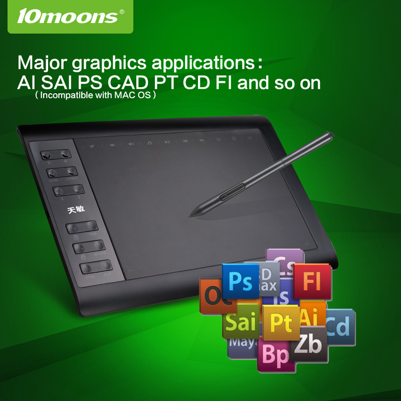 Original  10moons 1060Plus  Digital Graphic Tablets Artist Designer Drawing Tablet  For Win And Mac