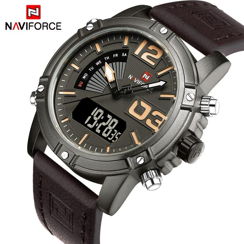 Naviforceファッション高級ブランド男性防水ミリタリースポーツ腕時計メンズクォーツデジタルレザー腕時計レロジオmasculinoリージュ大時計2017