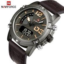 Naviforce marca de moda de lujo de los hombres militar deportes relojes cuarzo de los hombres a prueba de agua digital de cuero reloj de pulsera relogio masculino