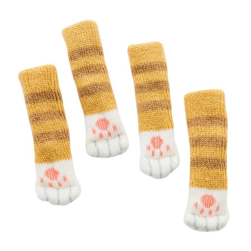 4pcs Knitting Cat Style Chair Leg Socks Home Furniture Leg Floor Protectors Non-slip Table Legs Cover Prevent Cat Scratching #2