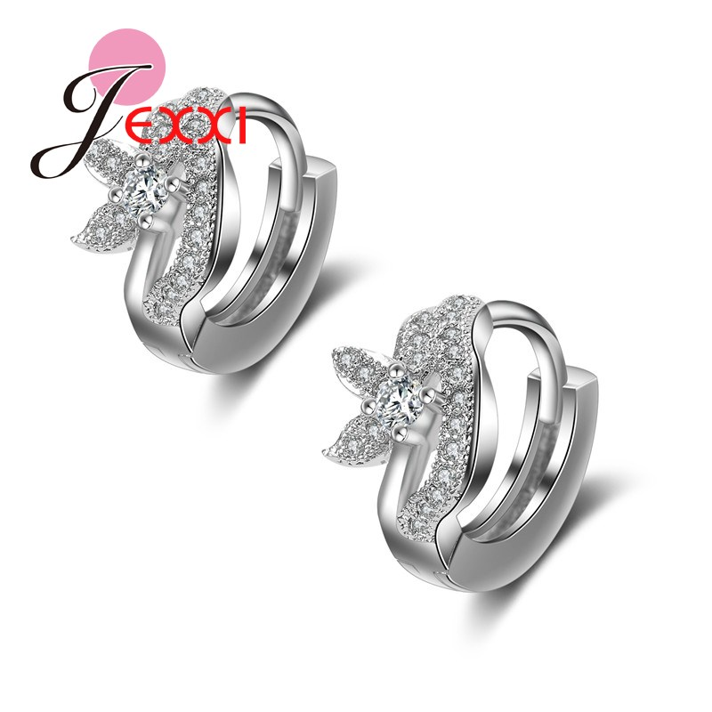 JEXXI Hot Selling Fashion Jewelry Silver Earrings For Women With Full Shiny CZ Diamond Abstract Flower Hoop Earring