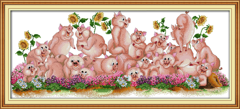 Joy sunday animal style Song of pig cross stitch patterns kits stamped fabric for easy needlework