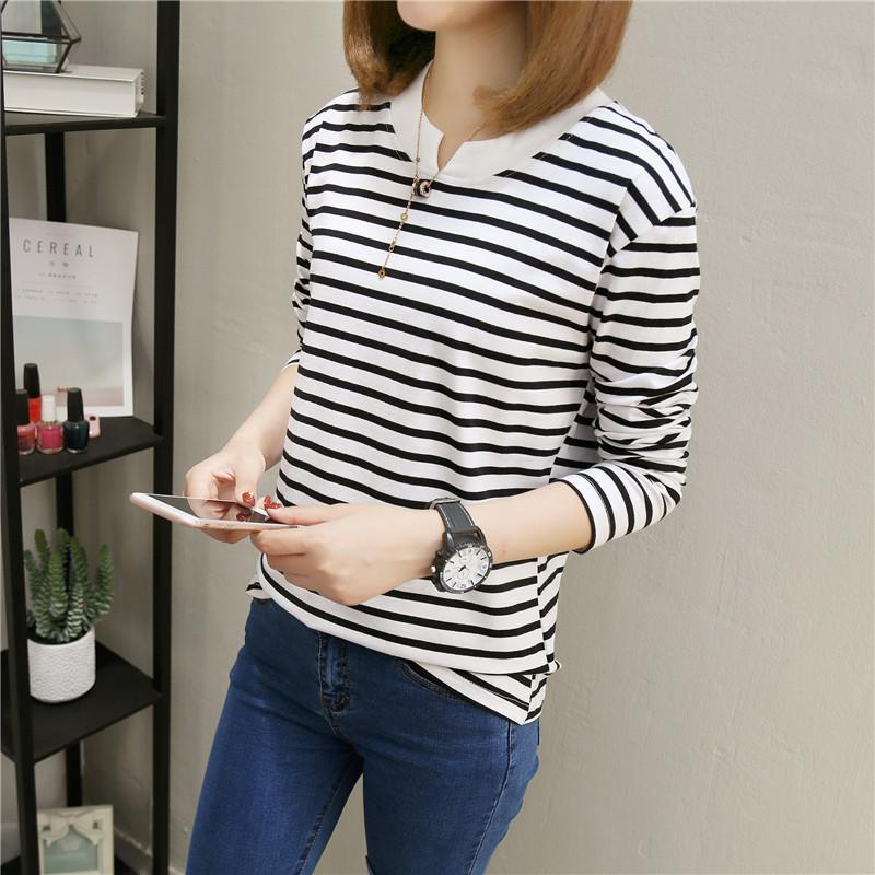 NFIVE Brand 2017 Women's Stripe Loose T-shirts Korean Autumn New Long Sleeved Large Size Shirt Quality Fashion Cotton T-shirt 2