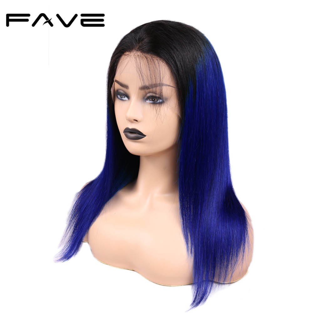 FAVE 13*4 Lace Frontal Ombre Wigs With Baby Hair Brazilian Remy Straight Human Hair Wig Pre Plucked Natural Hairline 1B/Blue