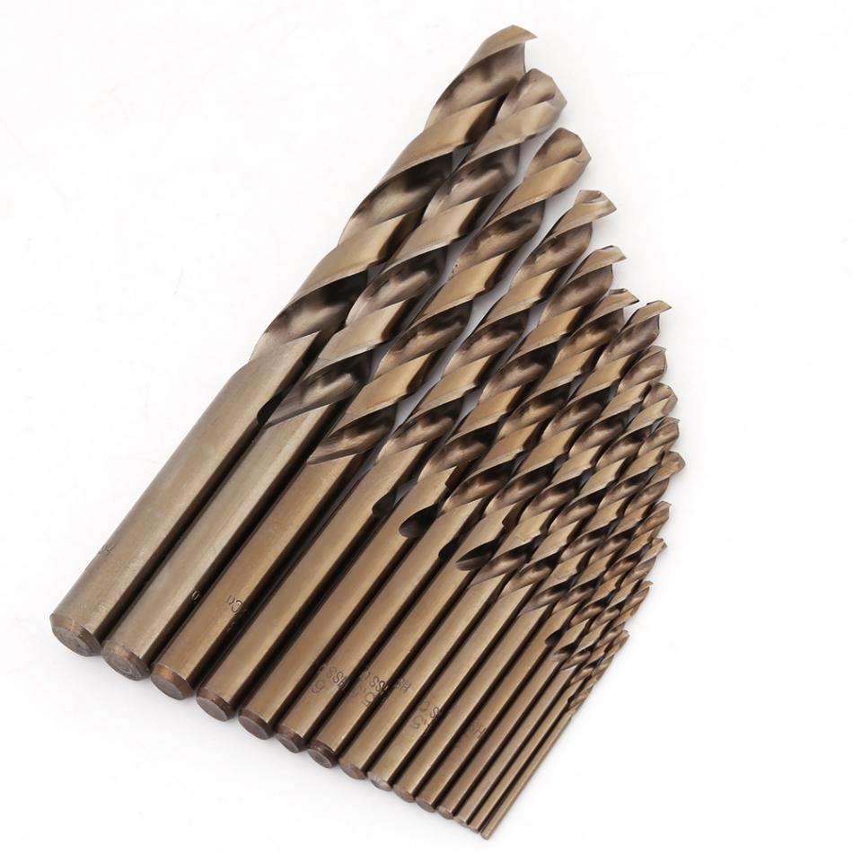 цена на 15Pcs/set M35 Cobalt Twist Drill Bit Set 1.5-10mm High Speed Steel Drill Bits Woodworking Metal Drilling Hand Tools Set