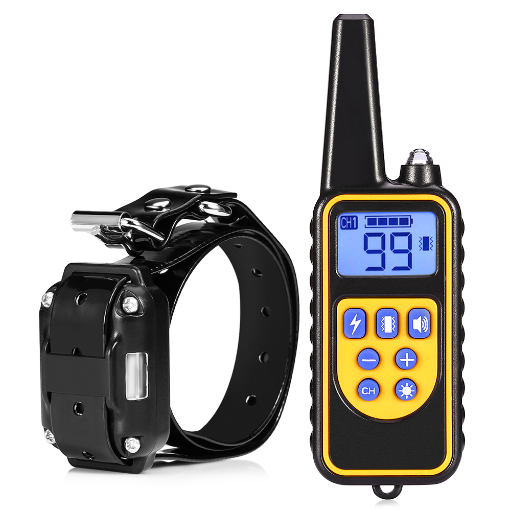 800m Electric Dog Training Collar Pet Remote Control Waterproof Rechargeable with LCD Display for All Size
