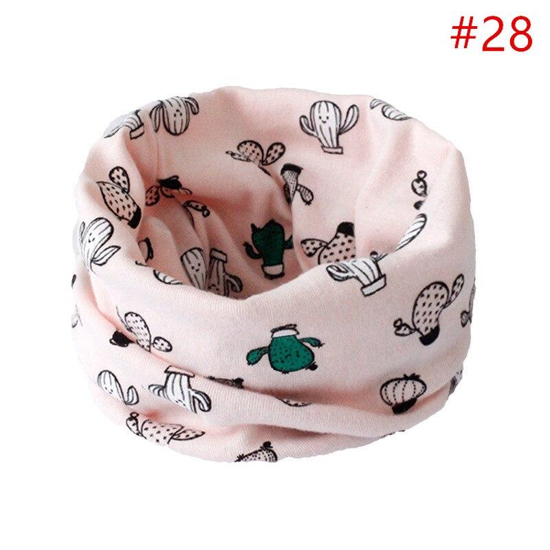 Детский хлопковый шейный шарф с милым принтом; детский теплый шарф; Детские воротники; осенне-зимний шарф-кольцо для мальчиков и девочек; аксессуары для детской одежды - Цвет: No.28