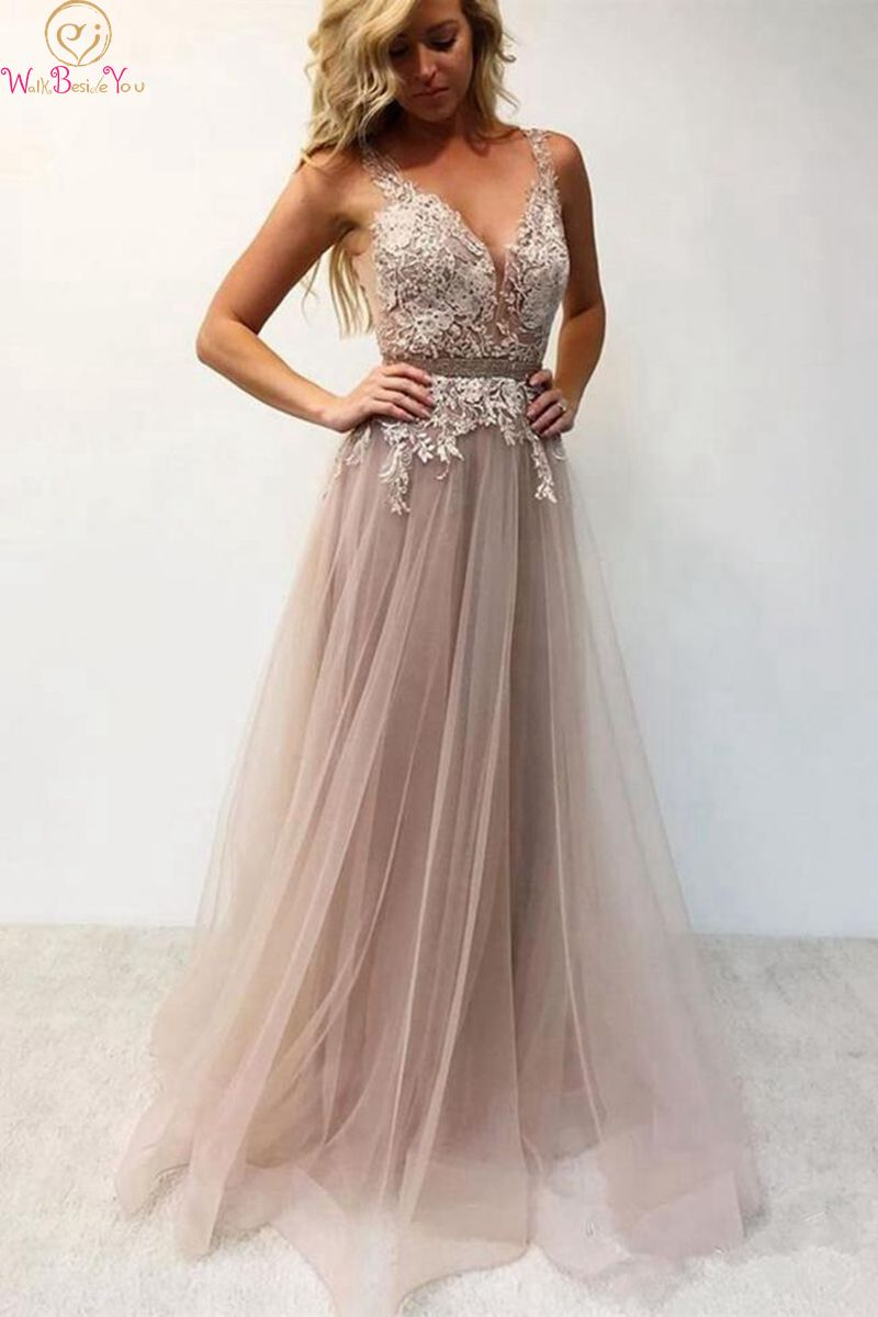 Deep V Neck Prom Dresses 2019 New Tulle A Line Sleeveless Appliques Lace Floor Length Long Evening Gowns Formal robe de soiree