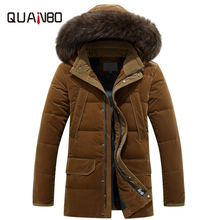 цена на New Plus Size 4XL Russia Winter Down Jacket Men Medium Long Thicken Warm Fur Collar White Duck Down Coat Jacket Men -40 degree