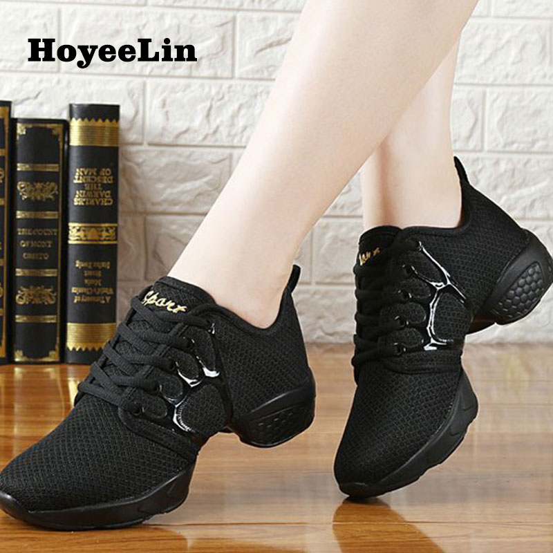 HoYeeLin Jazz Modern Dance Shoes Women Ladies Dance Fitness Training Sneakers Breathable Mesh Square Heeled Gym Shoes