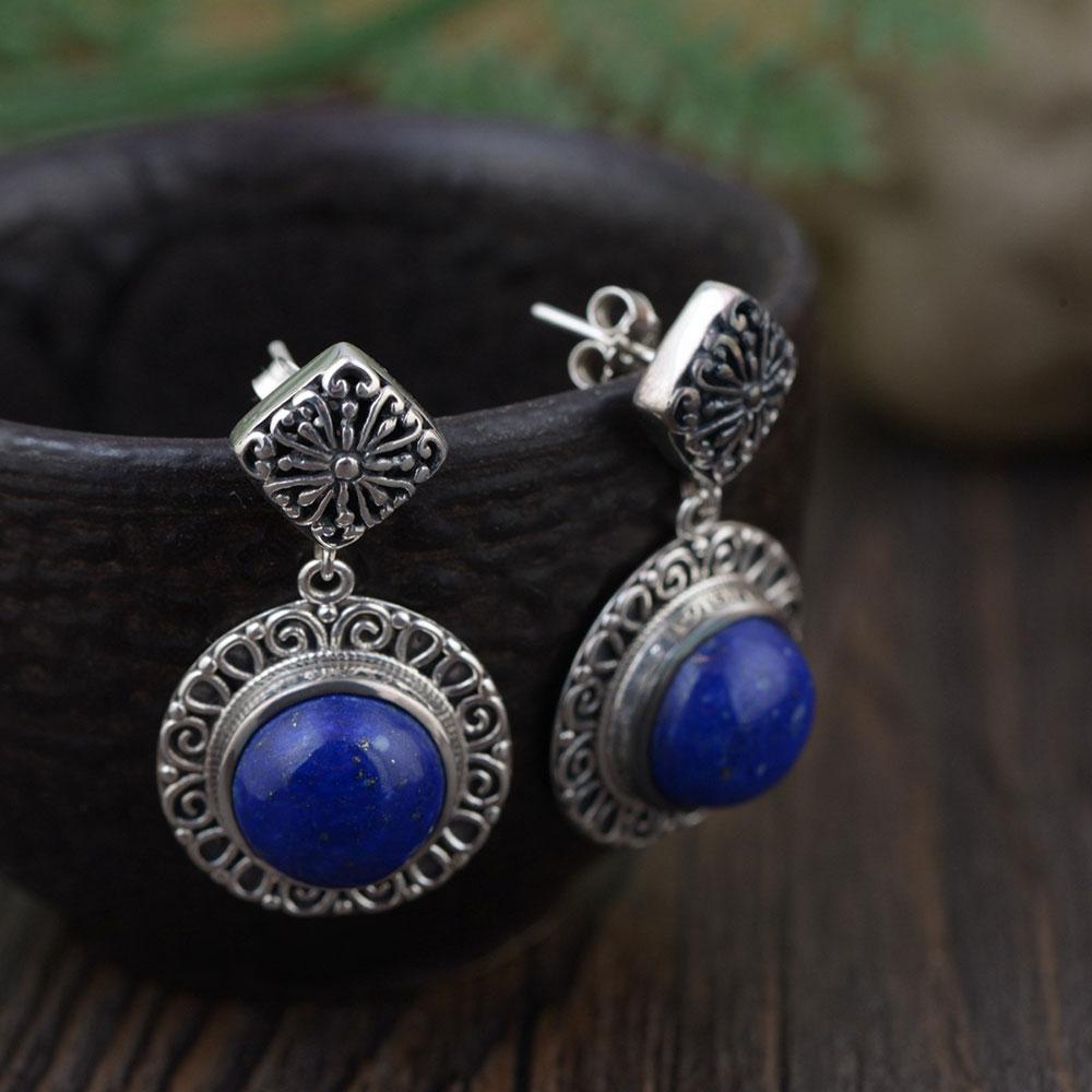 FNJ 925 Silver Cross Earrings for Women Jewelry Lapis Lazuli Blue Stone 100% S925 Sterling Silver boucle d'oreille Drop Earring