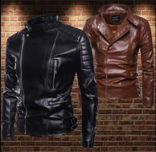Leather jacket men Punk Multiple zipper Standing collar mens motorcycle leather jackets and coats biker black brown M - 5XL