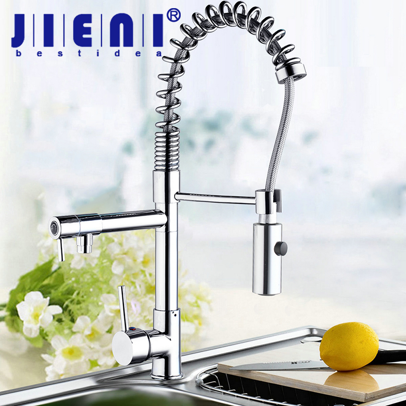 JIENI Two Swivel Spouts Deck Mount Pull Out Kitchen Sink Faucet Hot & Cold Water Mixer Tap Chrome Finish Single Handle Faucet цена 2017