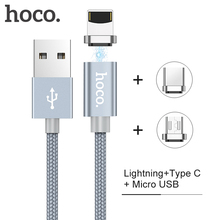 HOCO Micro USB Type C Lightning 2 In 1 Magnetic Cable 2A Fast Charge Data Cable Dust Plug Adapter For Ipad Mobile Phone Cables