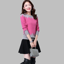 New Women Sweater Casual Slim Long Sleeve O-neck Autumn Winter Knitted Pullovers Tops Flower Print Blusas De Inverno Feminina