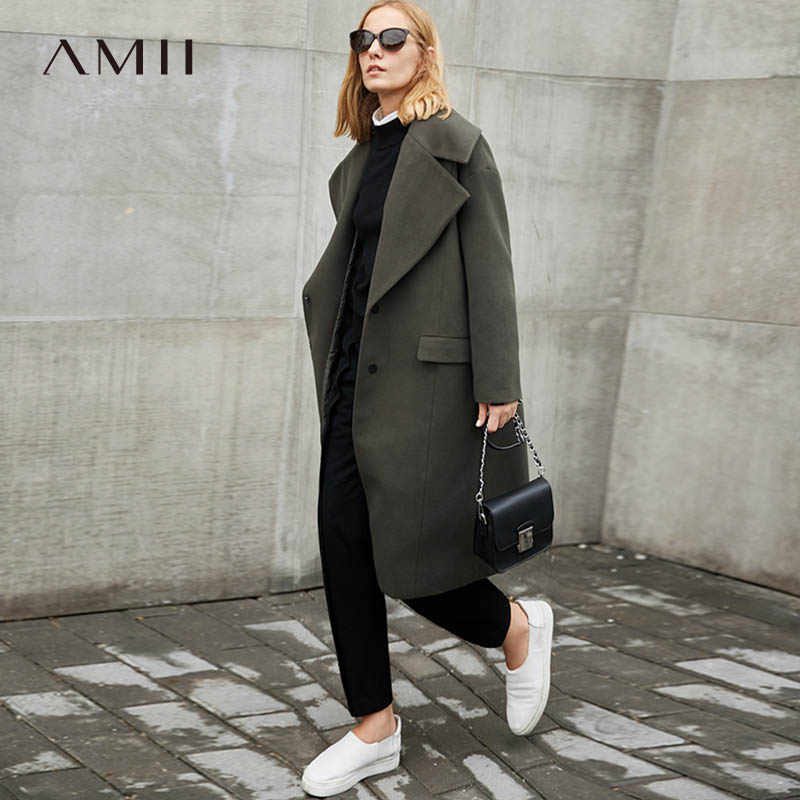 Amii Minimalism Wool Blend Long Coat Women Winter 2018 Causal Turn Down Collar Solid Oversized Loose Elegant Long Jackets