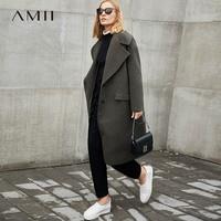 Amii Minimalism Wool Blend Long Coat Women Winter 2018 Causal Turn Down Collar Solid Oversized Loose Elegant Long Jackets