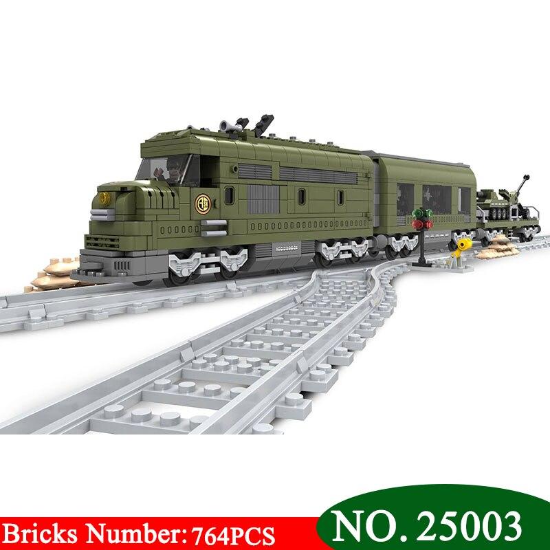 Nouveau Ausini 25003 Train militaire bloc de Construction briques ensemble 764 pièces Construction Train série Technic jouets pour enfants