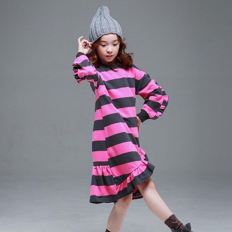 2018 Otoño e Invierno versión coreana de los niños ropa de manga larga a rayas Niña vestido de los niños grandes padre-niño vestido de