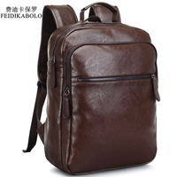 2017 Men Leather Backpack High Quality Youth Travel Rucksack School Book Bag Male Laptop Business Bagpack