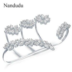 Image 3 - Nandudu נחמד מעוקב Zirconia פאלם צמיד לבן זהב צבע יד שרוול אופנה צמיד תכשיטי נשים ילדה מתנה R1116