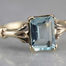 Anillo de compromiso cuadrado azul claro bonito para mujer, anillo de piedra de circón de cristal de Color dorado a la moda, anillos de boda Vintage para mujer