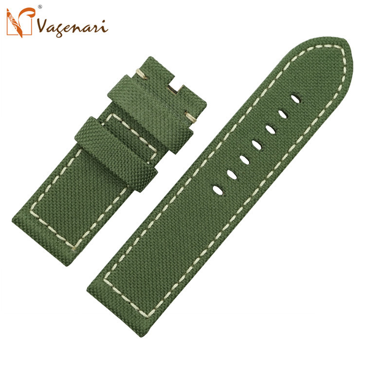 D349 Army Green 26/26mm Nylon and Italian Genuine Leather Watch Strap Watchband with Buckle top grade vintage calfskin genuine leather watch strap 20mm army green tan dark blue green maroon black watchband with buckle