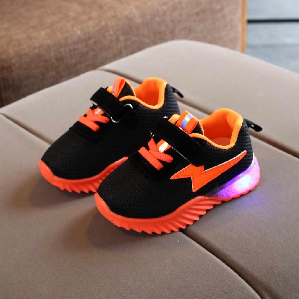 สีเด็กรองเท้าผ้าใบตาข่ายเรืองแสง USB สาวเด็ก LED กีฬารองเท้ารองเท้า LED #728g30