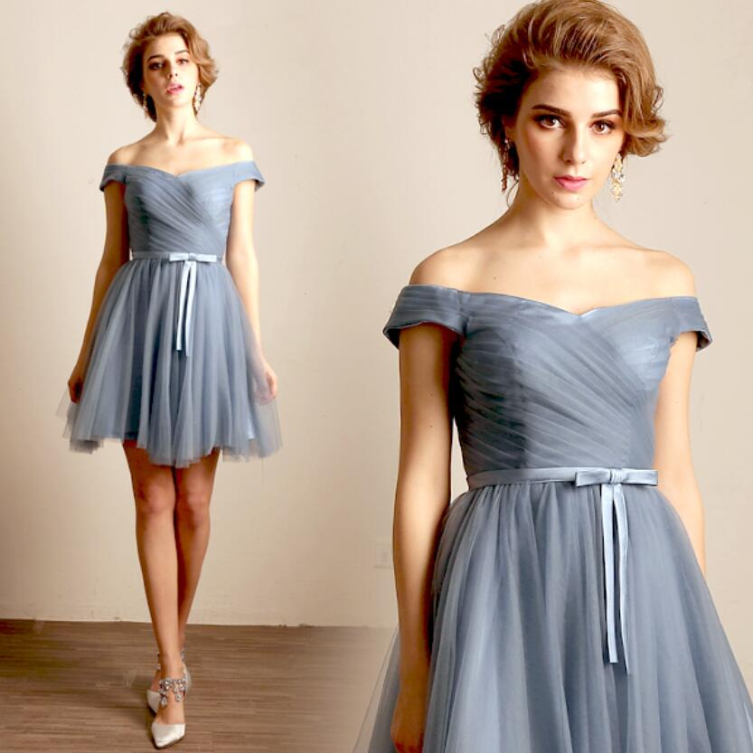 Blue Gray Evening Gown Party Short Prom Dress 2017 Cap Sleeve New