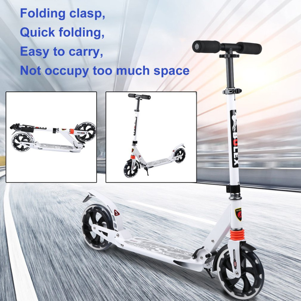 2018 New Folding Big Two Wheels Adults Scooter Fun Play Cool Skateboard Adjustable Height Urban Kick Scooter Great Gift cool 350w 8 inch electric scooter adjustable height led headlight folding travel tools adults kids toys for gift dropshipping