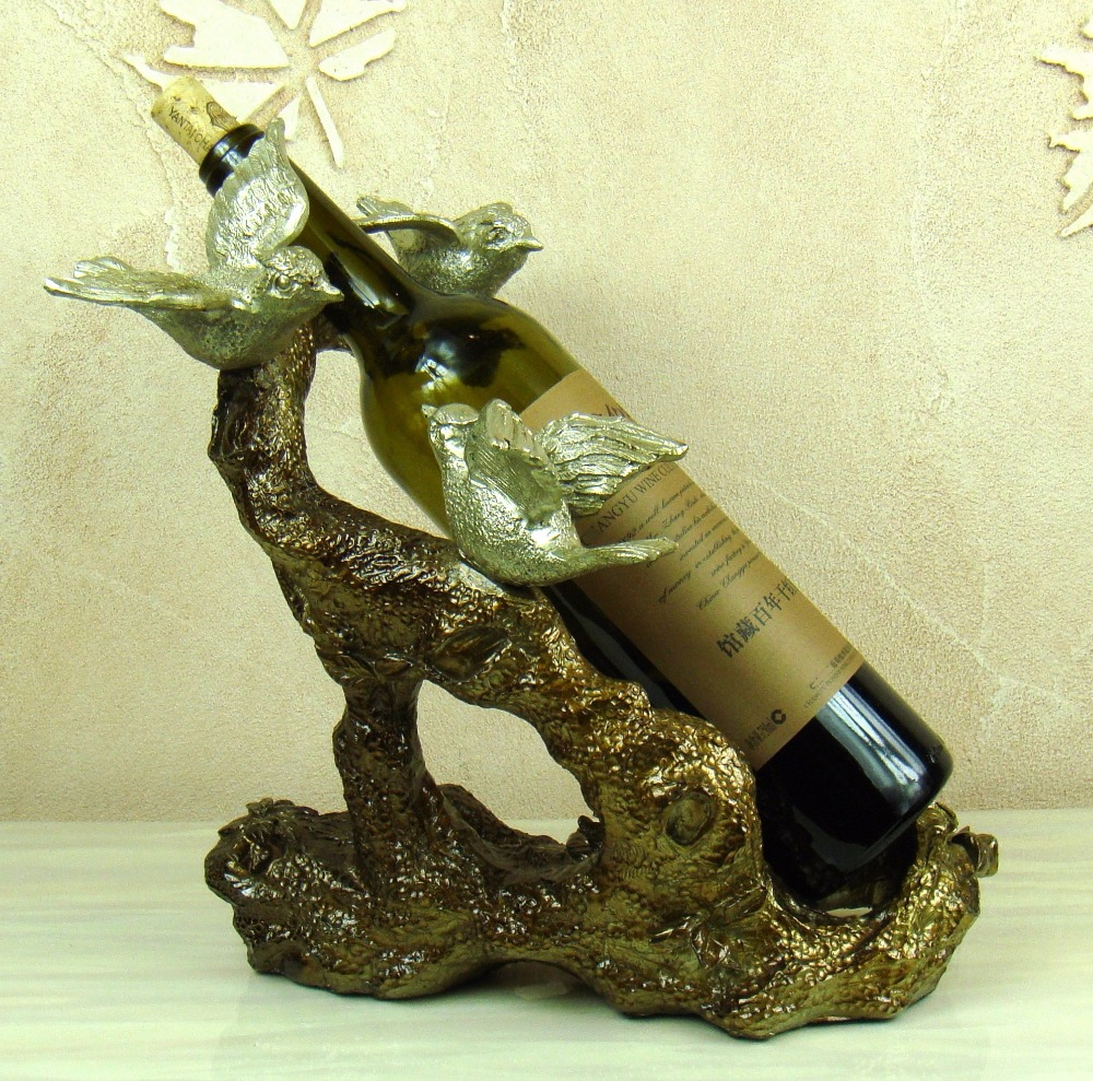 Creative Bird Figurine Wine Holder Ornamental Resin Tree Bottle Rest ...