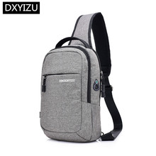 DINGXINYIZU small one shoulder messenger bag crossbody bags for men waterproof sling chest pack with earphone jack male