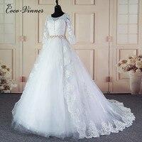 C V Half Sleeve V Neck Princess Wedding Dress 2017 New Ball Gown With Beaded Belt
