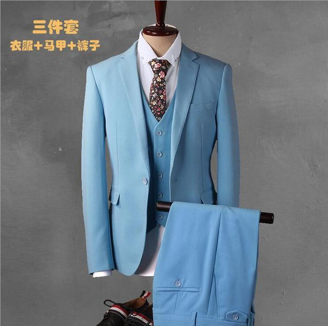 2018 Custom Made Light Blue Suit Men Tuxedo Slim Fit 3 Piece Groom ...