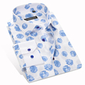 Mens Floral Print Long Sleeves Cotton Shirt Single Breasted Slight Elastic Business Casual Slim-fit Mens Shirts