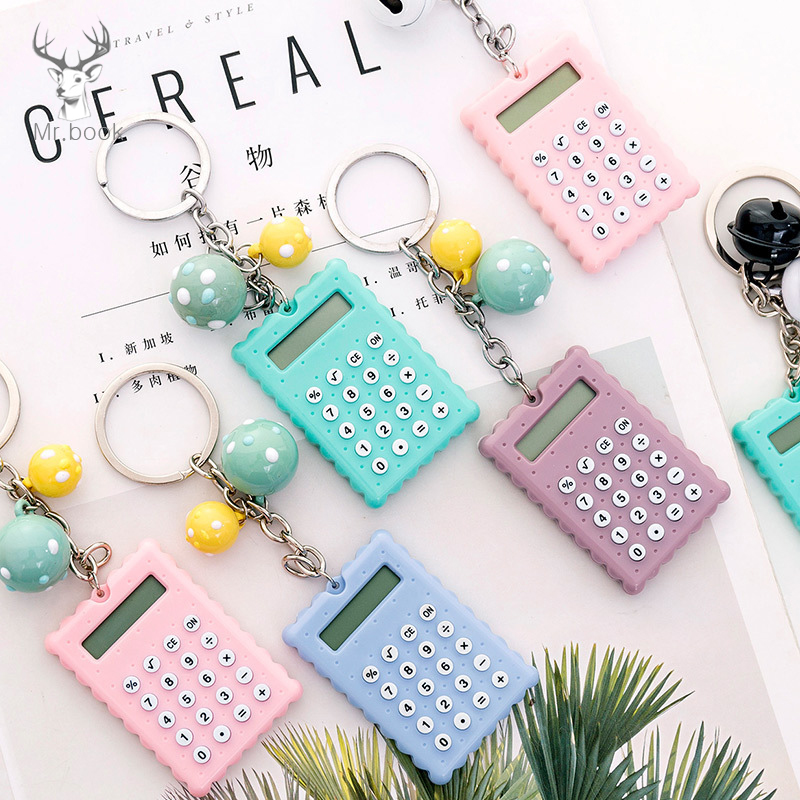 Creative Cartoon Biscuits Shape Mini Calculator Key Holder Portable Student Pocket Calculator With Keychain Bell Pendant Gifts