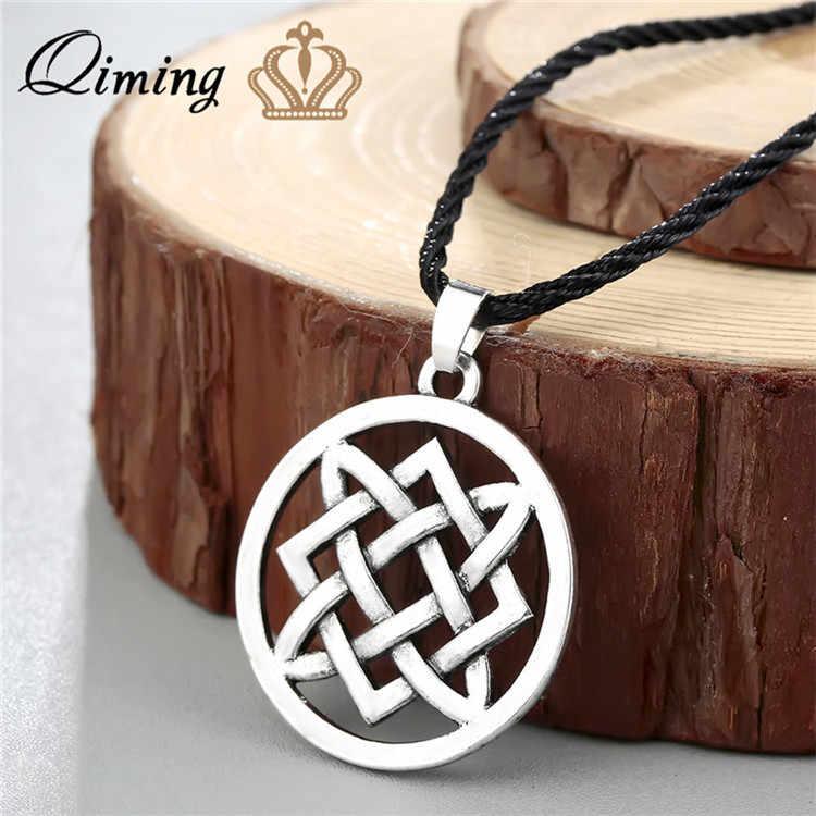 QIMING Símbolo Pagão Amuleto Kolovrat Handmade Colar Pingente Eslavo Solar Roda Eslavo Nórdico Viking Amuleto Homens
