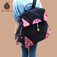 Newest Classic embroidered unisex backpack Ethnic Black canvas travel backpack Fashion Vintage casual bags