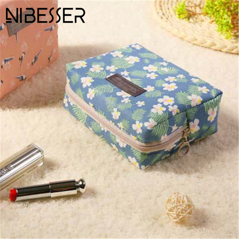 NIBESSER Fashion Floral Cosmetic Bag Travel Organizer Portable Beauty Pouch Toiletry Zipper Bag Lady Makeup Make Up Wash Bag