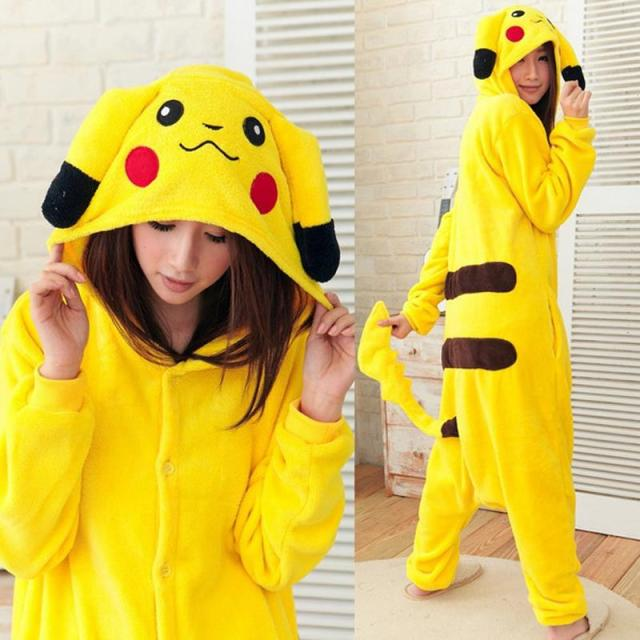 cute anime cosplay pokemon pikachu sleepwear regino knitting adult nightgowns girls pajamas carnival halloween costume for